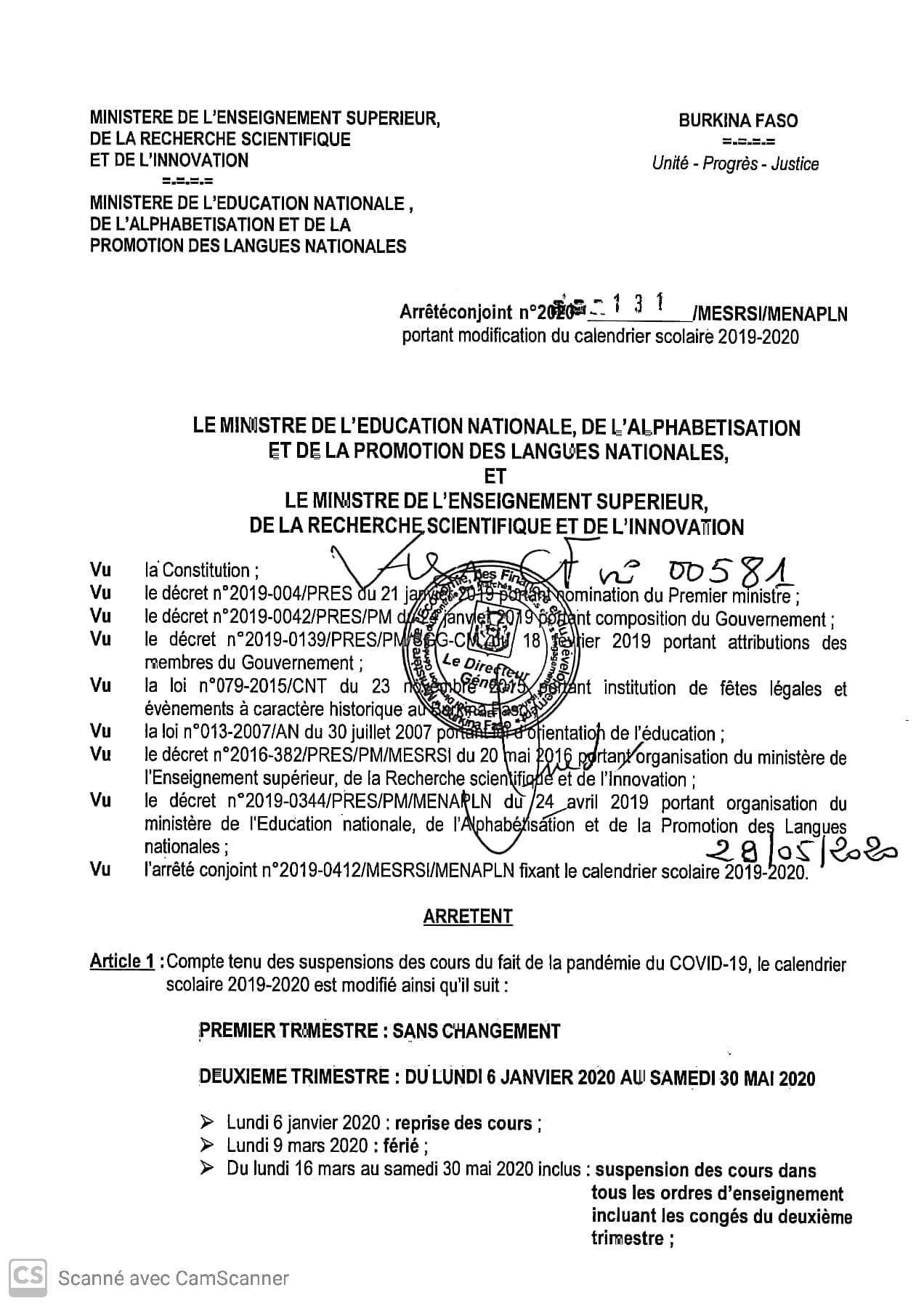 Communiqué : arrêter conjoint MERSI / MENAPL portant modification